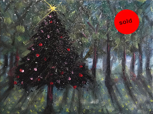 chistmas forest  |  24x18cm  |  original oil painting SOLD