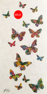 a flutter of butterflies  |  36x71cm  |  original acrylic painting