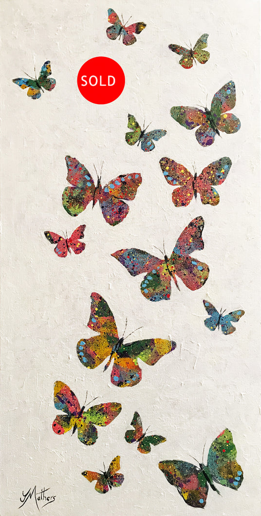 a flutter of butterflies  |  36x71cm  |  original acrylic painting SOLD