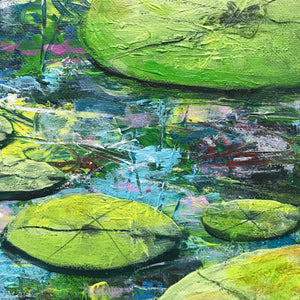 water lily reflections  |  90x45cm  |  original painting SOLD