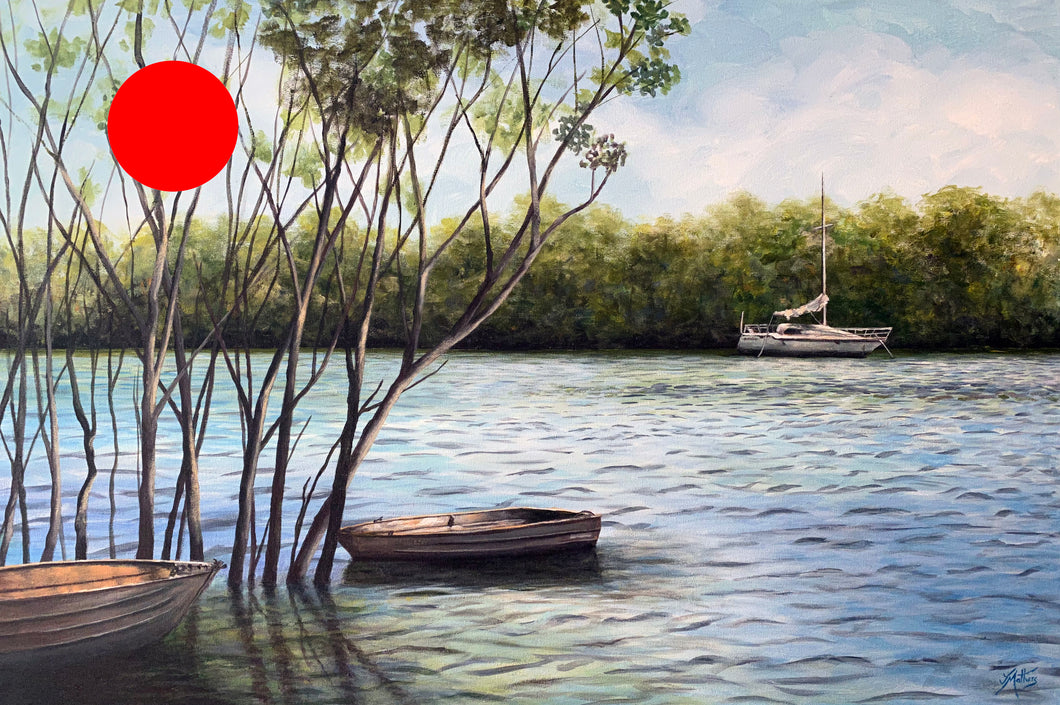 cabbage tree creek  |  90x60cm  |  framed original painting SOLD