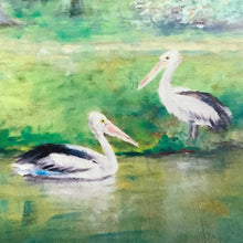 CANVAS PRINT 'two pelicans' 75x100cm in stock