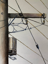 wired in gracemere  |  original painting<br><i>framed | 91x122cm + frame</i>
