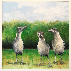 the magpie kids  |  71x71cm  |  original oil painting SOLD