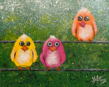 birds on a wire  |  original painting<br><i>25x20cm on gallery wrapped canvas</i>