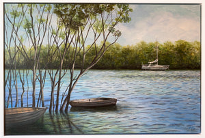 cabbage tree creek  |  90x60cm  |  framed original painting