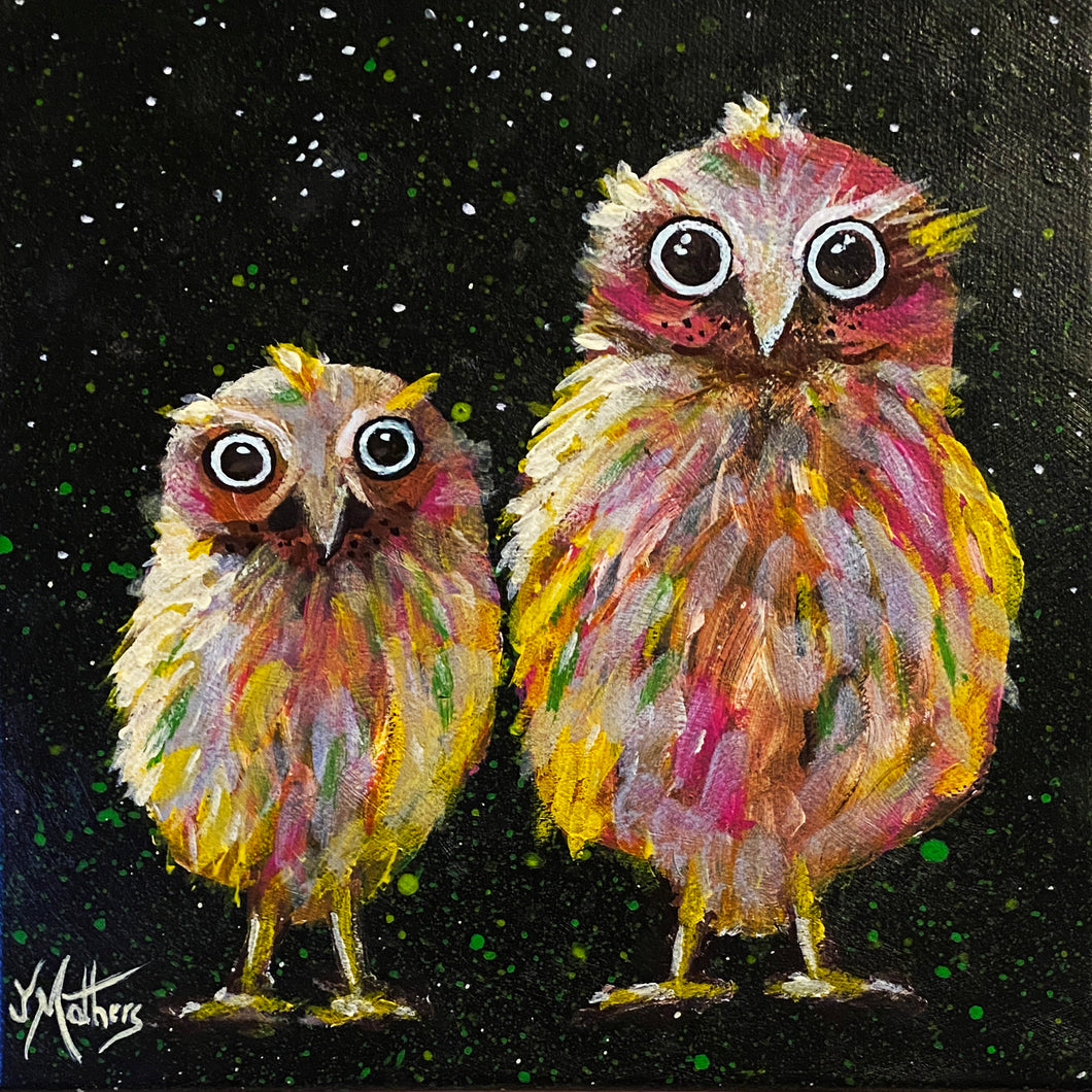 moonlight owls  |  original painting<br><i>20x20cm on gallery wrapped canvas</i>