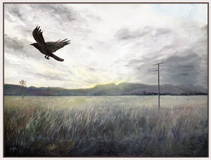 the crow flies north of bajool |  102x76cm  |  framed original painting