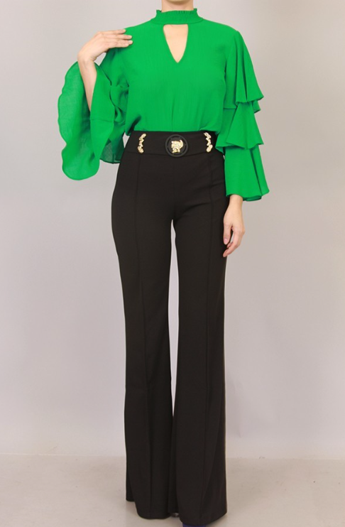 High Waist Gold Buckle Pants