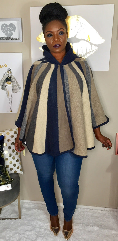 Wrapped in Blankets Poncho Blue