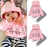 Pink Baby Girls Kids Clothes Set Sweatshirt Tops Cute Long Sleeve