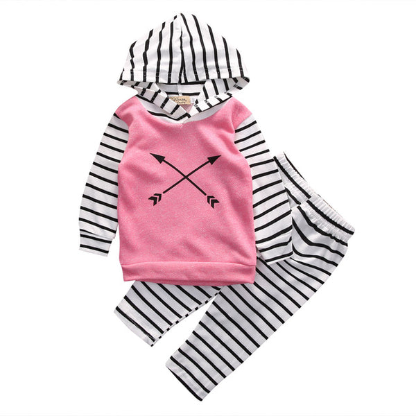 2PCS Set Newborn Baby Clothes Hooded Sweatshirt