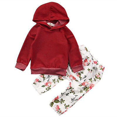 Baby Girls Kids Warm Long Sleeve Hooded Floral Sweatshirt