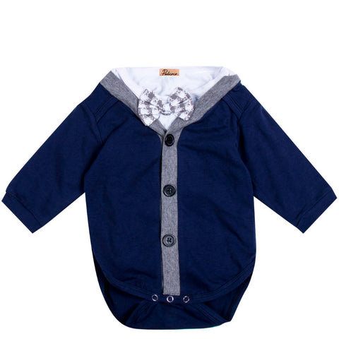 2pcs!!Newborn Baby Boy Gentleman Bow Cardigans Sweatshirt
