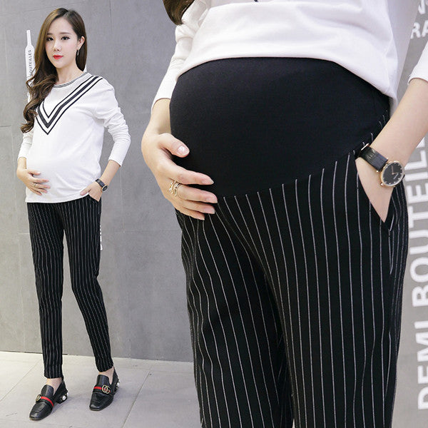 006# 9/10 Vertical Stripes Cotton Belly Maternity Pants