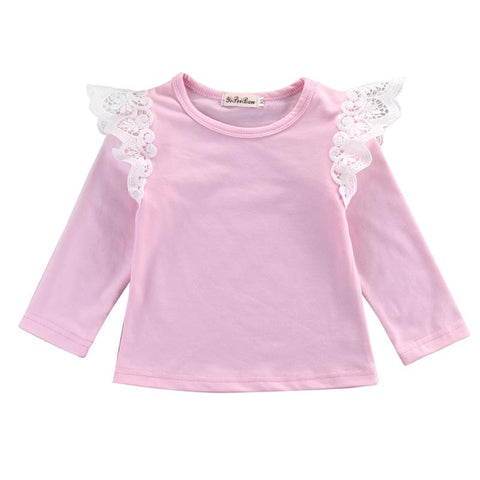 Cute Toddler Pink Top Fashion Infant Lace T-shirts