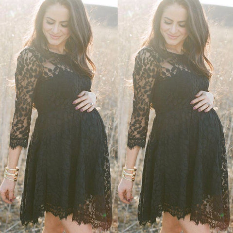 Puseky Black Lace Maternity Dresses Long Sleeve