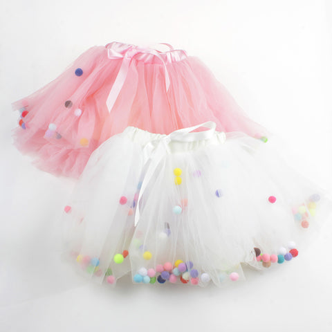 4 Layers Balls Girls Tutu Skirt Soft Mesh Lace