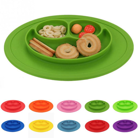 New Infants Ellipse Silicone Feeding Food Plate