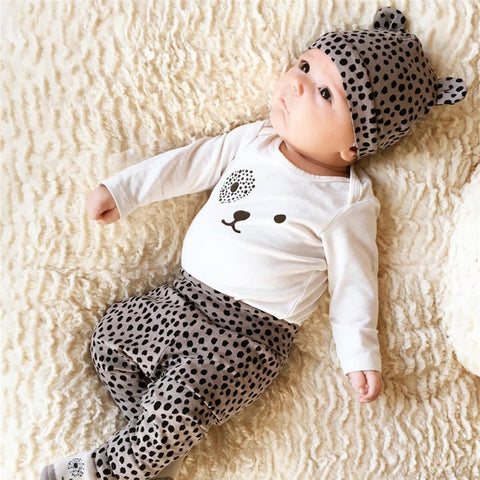 Baby girl clothes leopard t-shirt + pants + cap