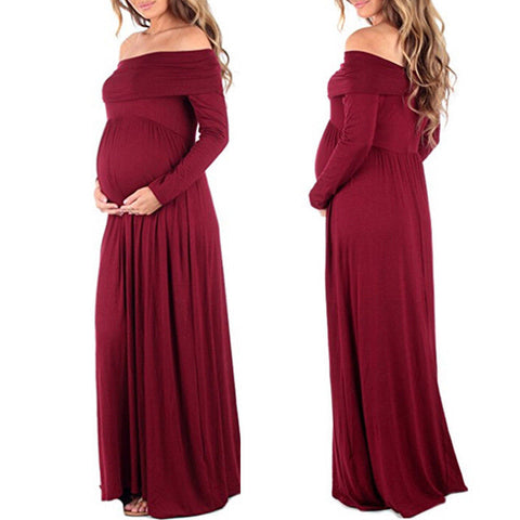 Maternity Photography Props Chiffon Vestidos Off Shoulders