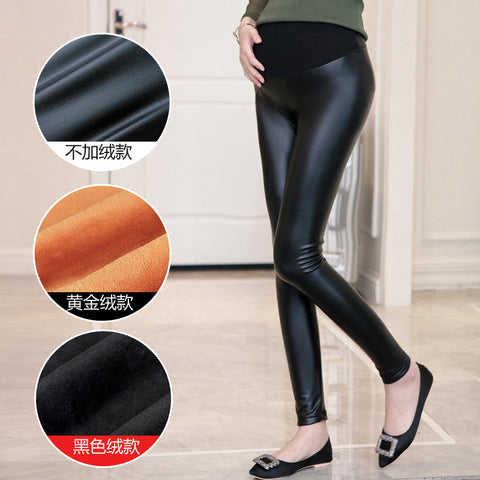 Autumn Winter PU Maternity Legging Elastic Waist