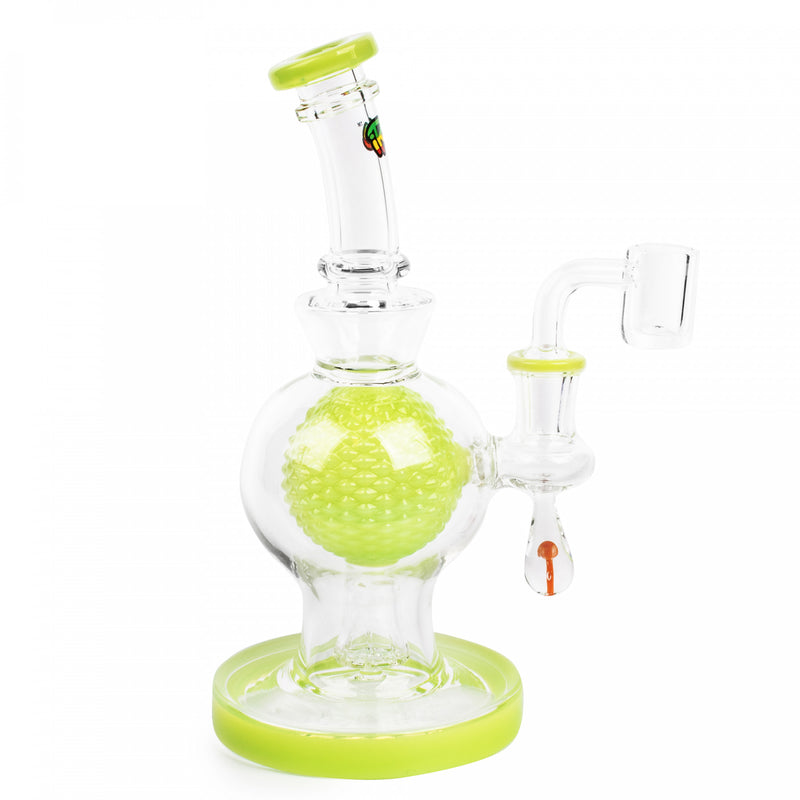 "7"" Aquatex Ball W/ Mushroom Marble Concentrate Rig - Irie - Slime"