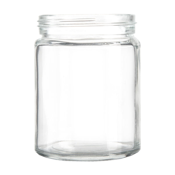 18oz Standard Glass Jar - Black Plastic Screw Lid - 24pc Case
