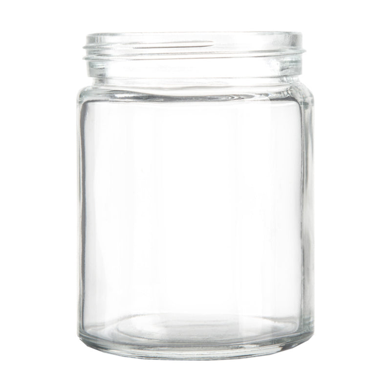 10oz Standard Glass Jar - Black Plastic Screw Lid - 36pc Case
