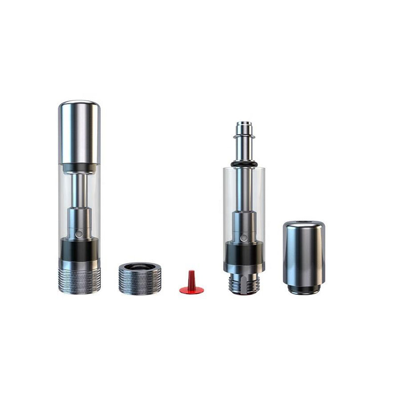 Glass Vaporizer Cartridge /w Ceramic Coil & 2mm hole - Silver (Certified Heavy Metal FREE)