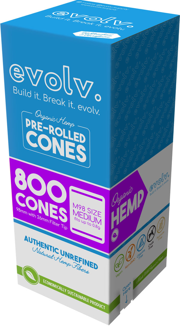 EVOLV Organic Hemp Pre-Rolled Cones | Size: M98 (98mm) | 800/Pack