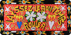 Laissez Le Bon Temps Rouler Simon Designed License Plate