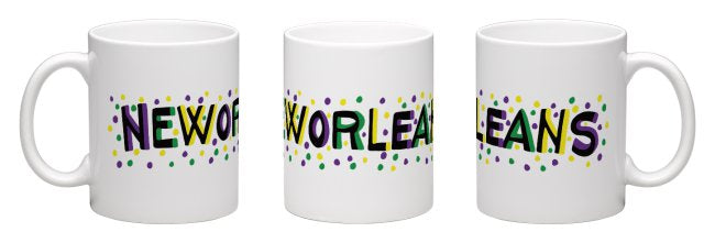 Purple, Green and Gold New Orleans Coffee Mug by Simon of New Orleans