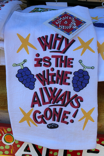 Why is the Wine Always Gone! kitchen towel by Simon