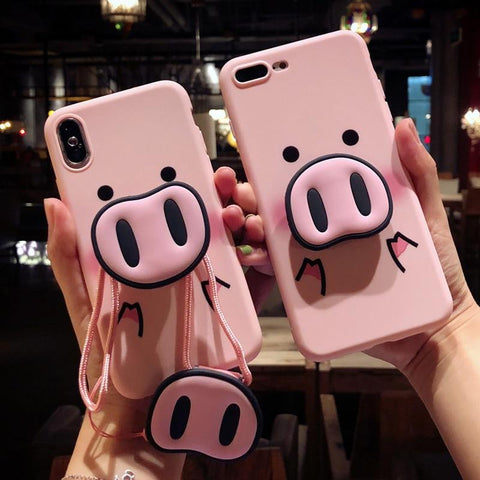 Glow Allure Cute Pink Pig Case