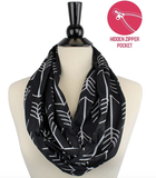 Glow Allure Geometric Black Infinity Pocket Scarf