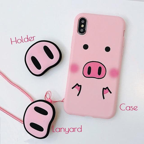 Glow Allure Pink Pig / For iPhone 6 6S Cute Pink Pig Case