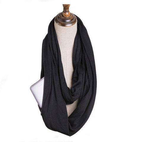 Glow Allure Solid Black Infinity Pocket Scarf