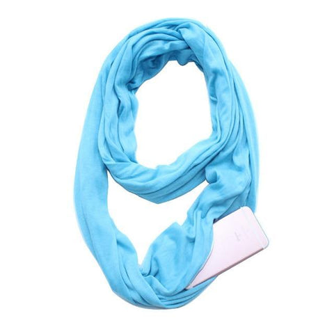 Glow Allure Solid Blue Infinity Pocket Scarf