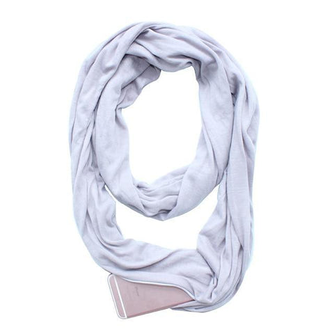 Glow Allure Solid Grey Infinity Pocket Scarf