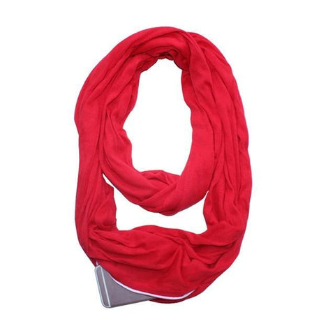 Glow Allure Solid Red Infinity Pocket Scarf