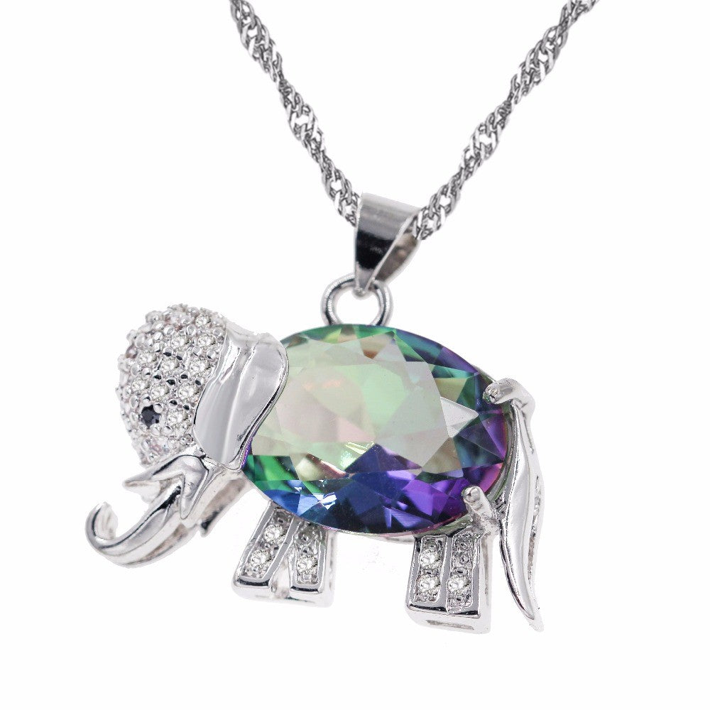 Rainbow Elephant Pendant Necklace with Silver Chain
