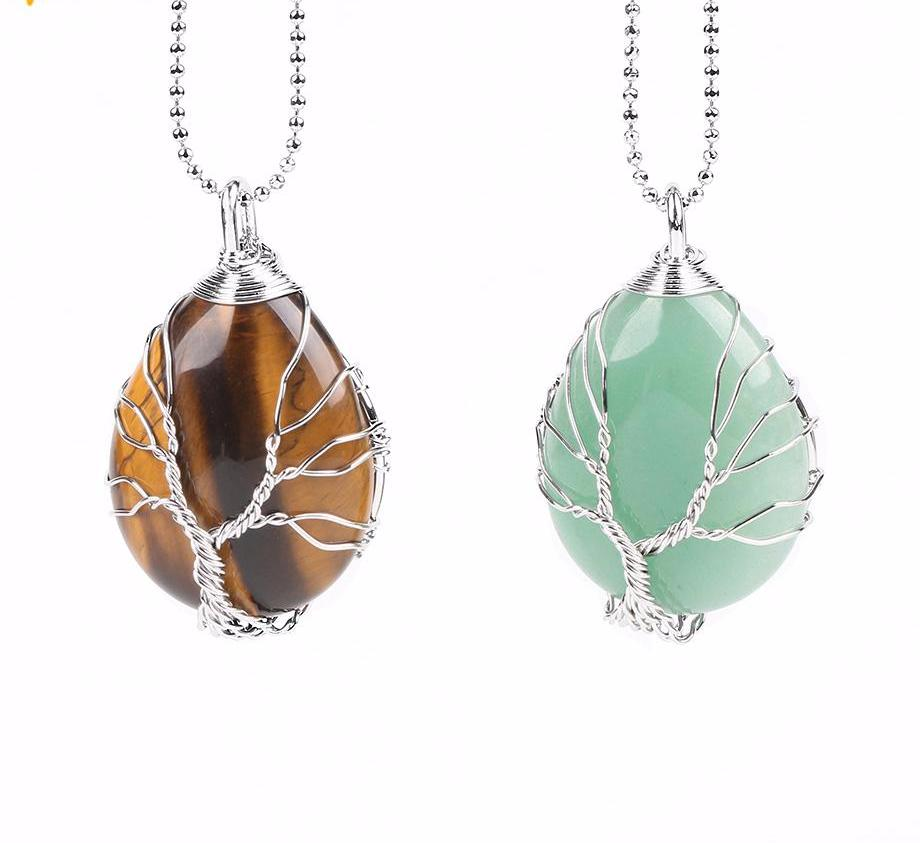 Tree of Life Hand Made Water Drop Necklace