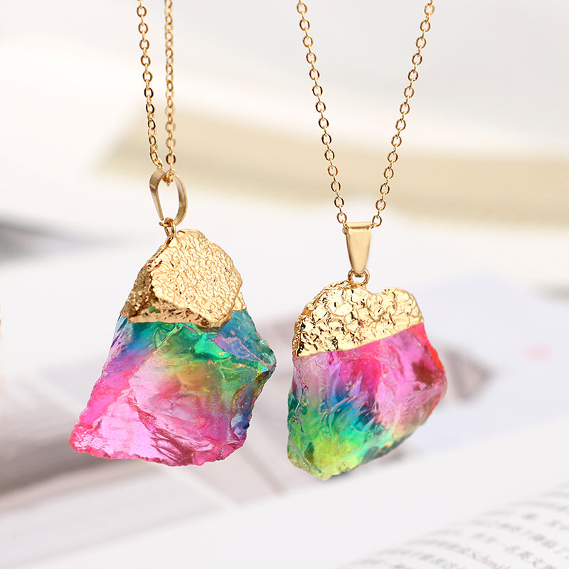 Rainbow Colorful Natural Crystal Rock Pendant with Gold