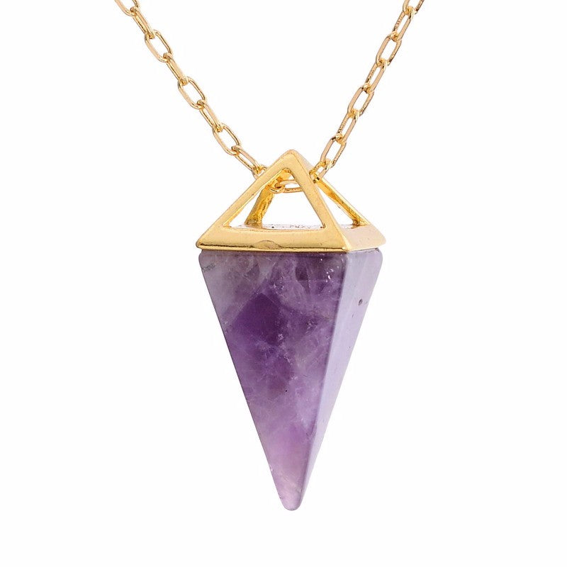 Pyramid Crystal Pendant Necklace with Opal & Natural Stone
