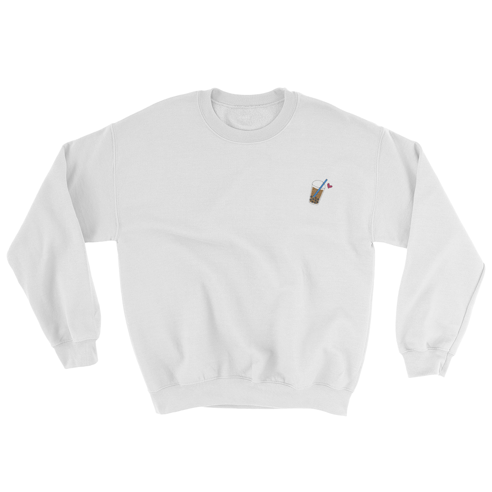 Embroidered bubble tea icon crew neck sweater