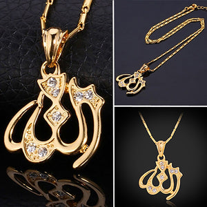 Islam Allah Pendant Charms  Clear Rhinestone Necklace