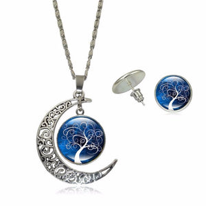 Life Tree Art Picture Pendant Statement Chain Crescent Moon Necklace earring Glass Necklace Stud Earrings Set 40