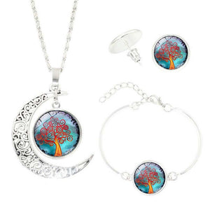 Life Tree Art Picture Pendant Statement Chain Crescent Moon Necklace Time Earring Necklace bracelet set #PY50