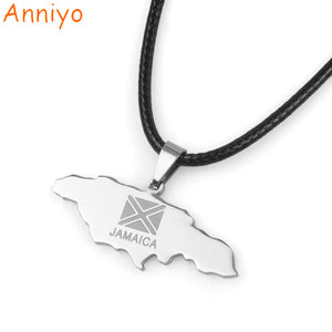Anniyo Jamaica Map Stainless Steel Pendant